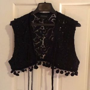 Club Monaco black Pom Pom crochet vest